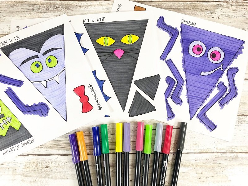 Color in all the Halloween character banners with Tombow Dual Brush Pens Creatively Beth #creativelybeth #halloween #banner #freeprintable #coloring #handdrawn