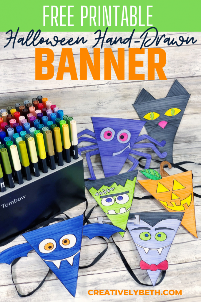 FREE Hand-Drawn Halloween Banner To Print And Color - Creatively Beth