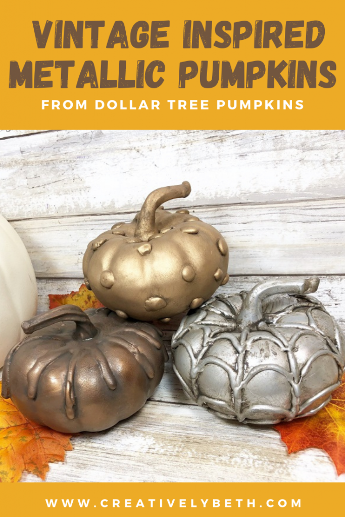 Decorative Pumpkins made with Hot Glue and Paint to create a vintage metallic finish Creatively Beth #creativelybeth #dollartreecrafts #fauxfinish #hotgluecrafts #pumpkins #upcycle