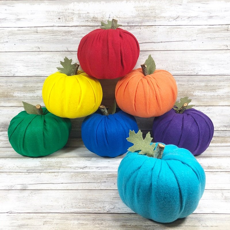 How to DIY Rainbow Dollar Tree Pumpkins Creatively Beth #creativelybeth #dollartreecrafts #halloweencrafts #pumpkincrafts #rainbowcrafts #createwithkunin