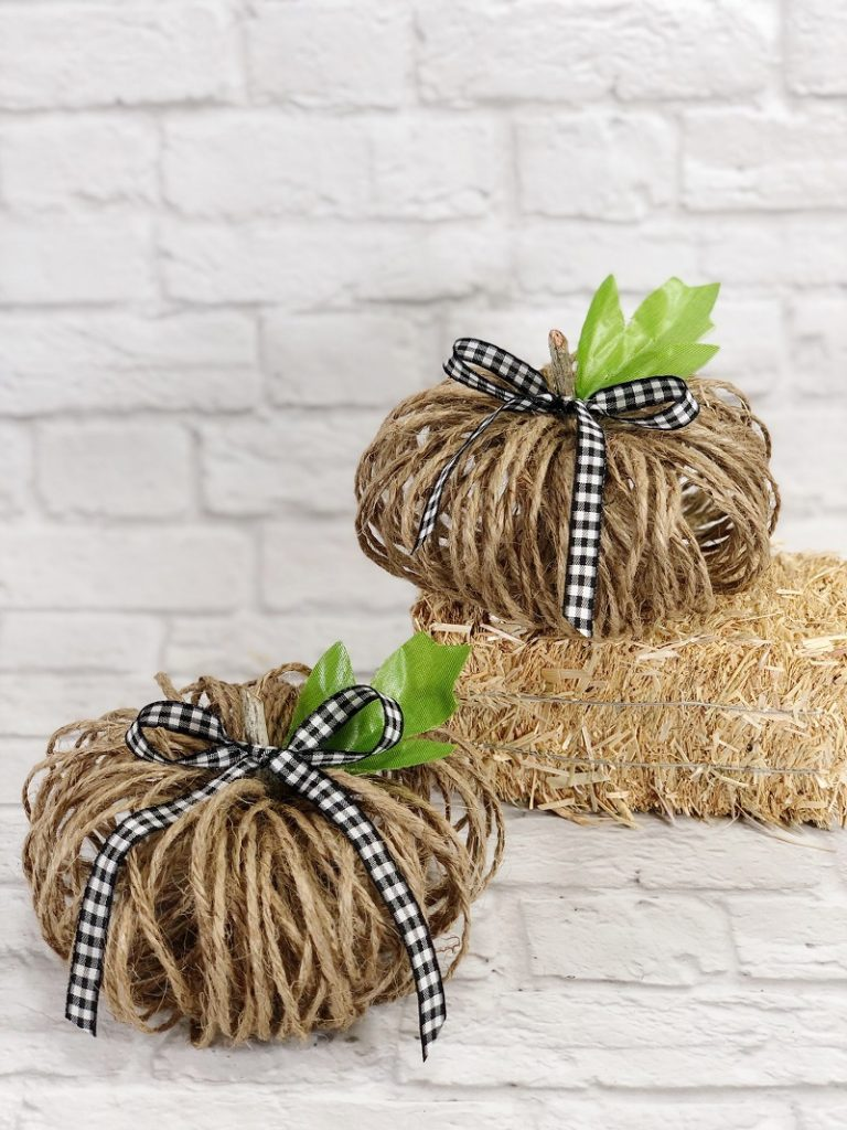5 Minute Twine Pumpkins to Create for Fall with Dollar Tree Supplies Creatively Beth #creativelybeth #dollartreecrafts #twinepumpkins #fallhomedecor