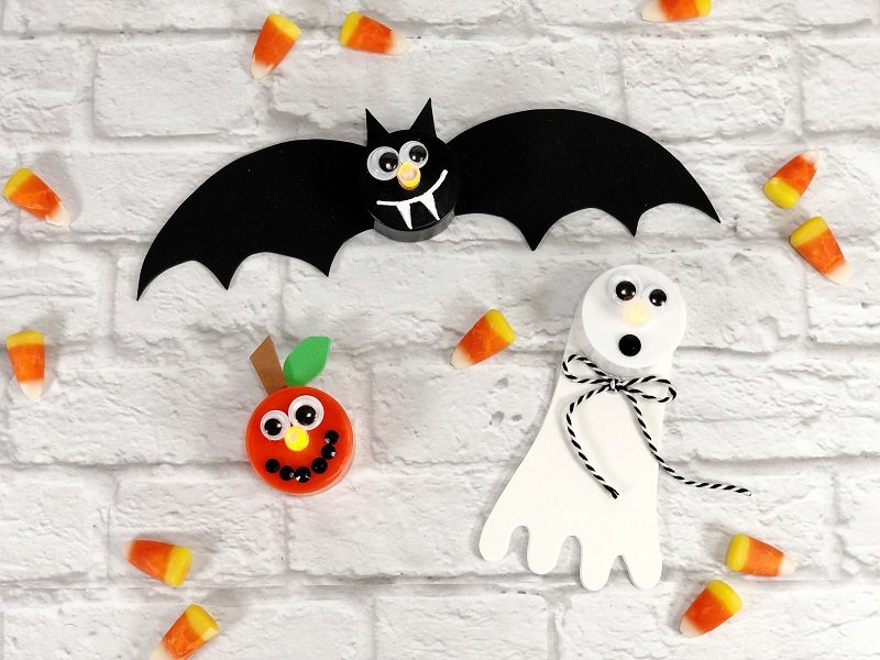 How to make Dollar Tree Halloween Votives in 15 Minutes Creatively Beth #creativelybeth #dollartree #crafts #halloween #ghost #bat #jackolantern