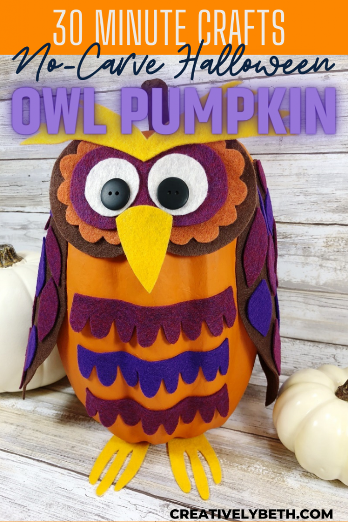 No-Carve Halloween Owl Pumpkin with Free Printable Patterns by Creatively Beth #creativelybeth #pumpkin #nocarve #halloween #craft #owl #feltcrafts