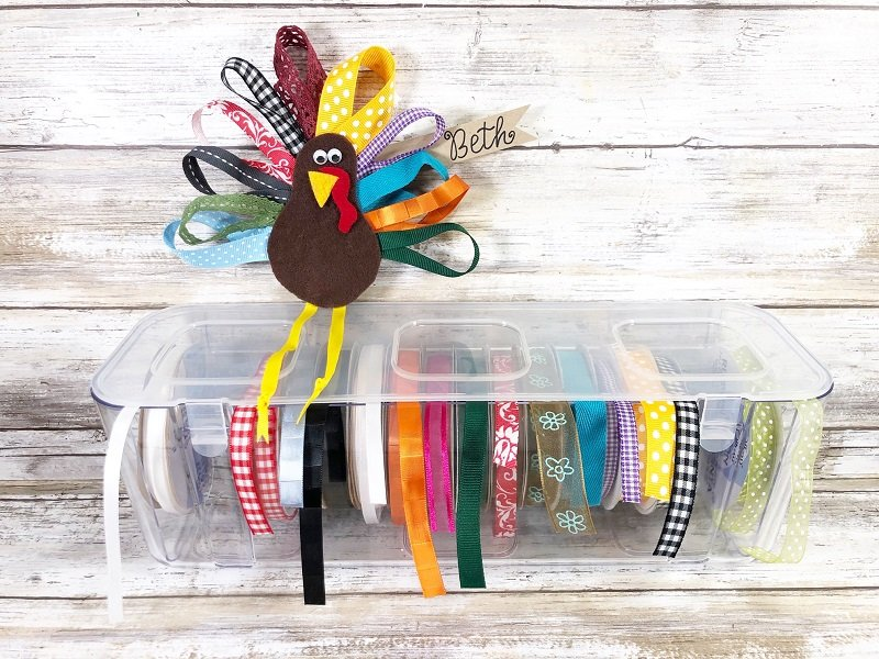 Rainbow Ribbon Turkey Decorations for Thanksgiving Creatively Beth #creativelybeth #thanksgiving #decor #decorations #placecards #centerpiece #ribbonturkey #deflecto