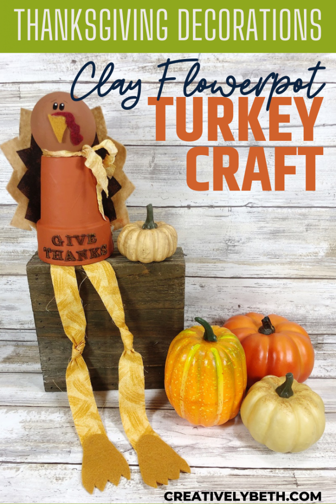 Clay Pot Turkey Thanksgiving Decoration Creatively Beth #creativelybeth #claypotcraft #turkeycraft #thanksgivingdecoration #kidscrafts