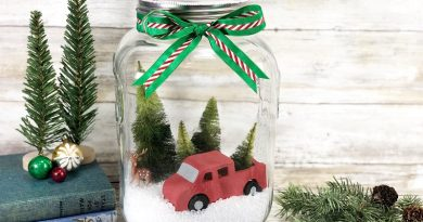 How to make an easy Christmas Truck Snow Globe Creatively Beth #creativelybeth #snowglobe #christmascrafts #redtruck #christmasredtruck #decoart