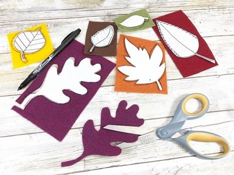 Draw Autumn leaves on paper, cut out and trace onto felt Creatively Beth #creativelybeth #embroidery #handsewn #autumndecor #feltcrafts #fallleaves #easycrafts