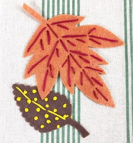 Add French knots to Fall leaves for variety Creatively Beth #creativelybeth #embroidery #handsewn #autumndecor #feltcrafts #fallleaves #easycrafts