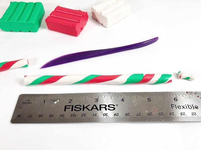 For candy cane, measure and cut a six inch length Creatively Beth #creativelybeth #polymerclay #christmas #ornaments