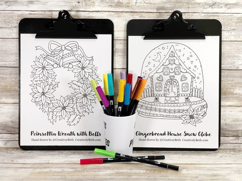 Free Hand Drawn Christmas Coloring Pages by Creatively Beth #creativelybeth #bestcreativecrafts #handdrawn #coloringpage #freeprintable