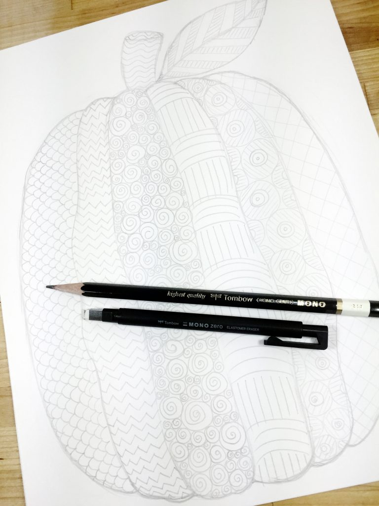 Add the pattered details in a variety of shapes and styles Creatively Beth #creativelybeth #freeprintable #coloringpage #tombowdualbrushpens