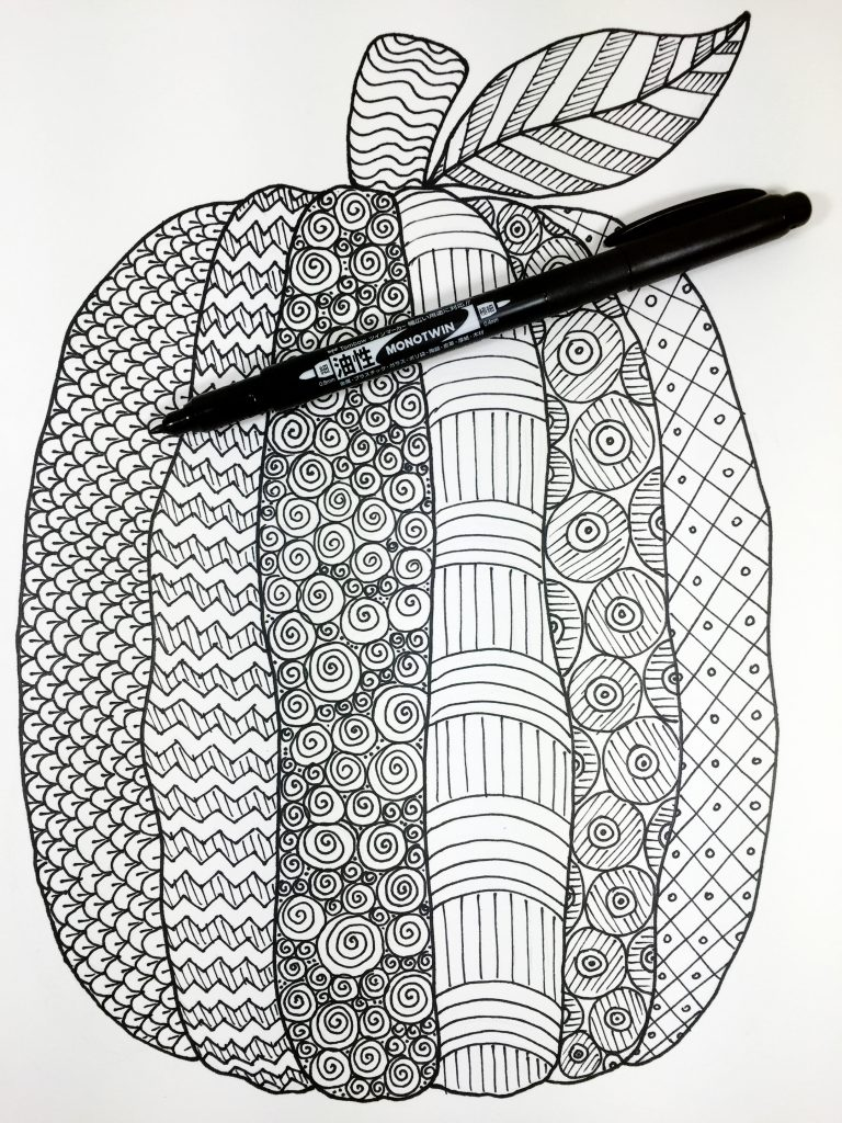 Ink in all the pencil lines with Tombow MONO Twin Permanent Marker Creatively Beth #creativelybeth #freeprintable #coloringpage #tombowdualbrushpens