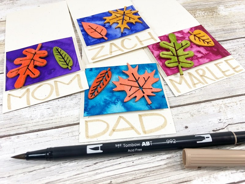 Add block printing with Tombow Dual Brush Pen Tan Creatively Beth #creativelybeth #tombowdualbrushpens #watercolor #thanksgiving #placecards #craft