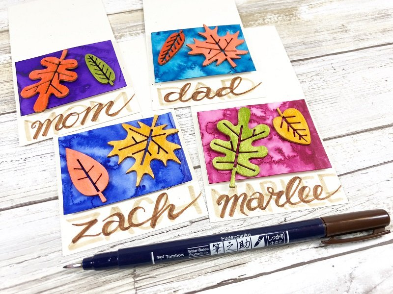 Hand Lettered Thanksgiving Place Cards Creatively Beth #creativelybeth #tombowdualbrushpens #watercolor #thanksgiving #placecards #craft