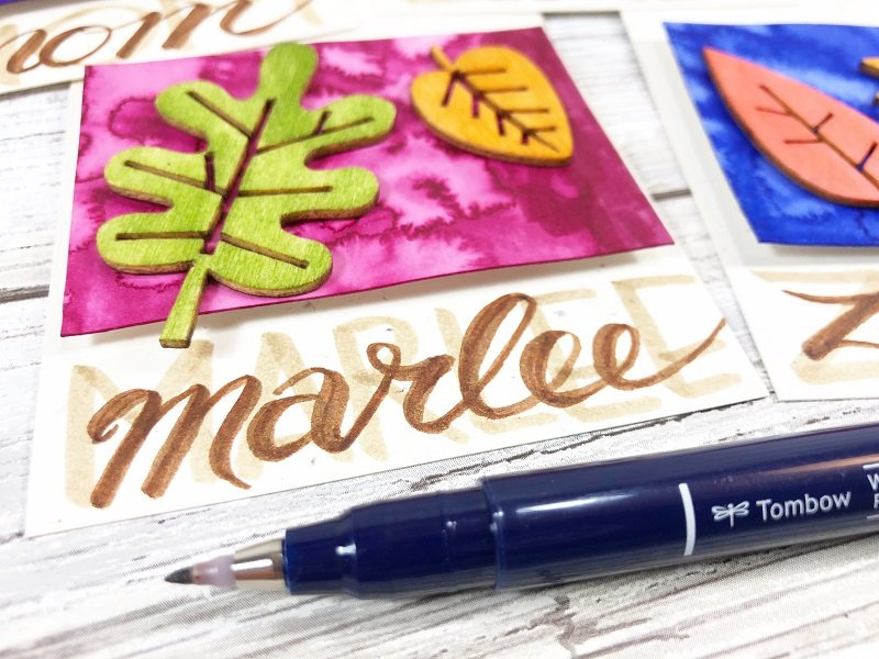 Add hand lettering with Tombow Fudenosuke Brown Creatively Beth #creativelybeth #tombowdualbrushpens #watercolor #thanksgiving #placecards #craft