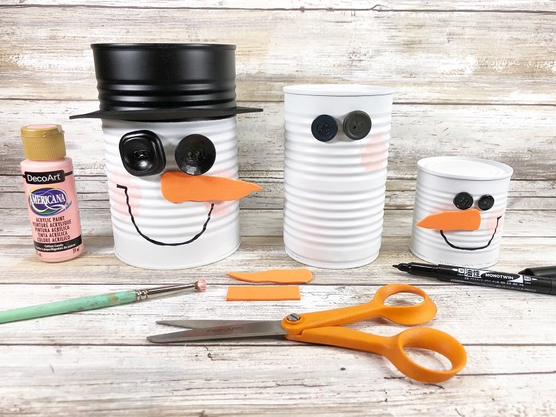 How to Make Recycled Tin Can Snowmen for Christmas by Creatively Beth #creativelybeth #recycle #upcycle #crafts #snowmen #snowman