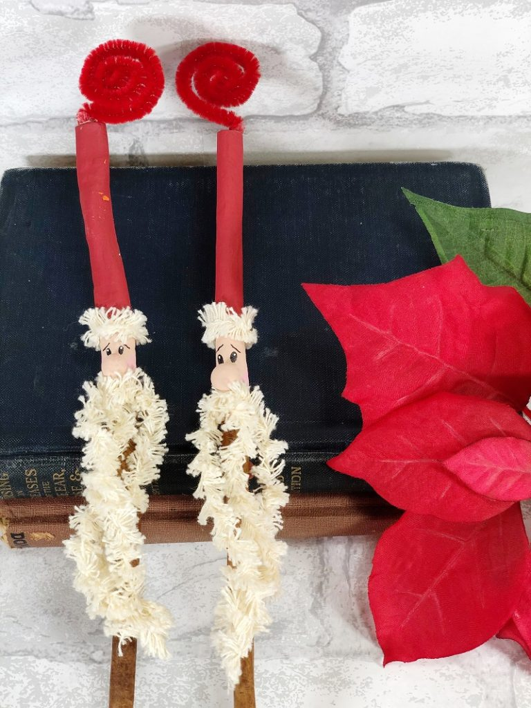 Santa Cinnamon Stick Ornaments for a Jolly Christmas by Creatively Beth #creativelybeth #santa #ornament #kidscrafts #christmascrafts
