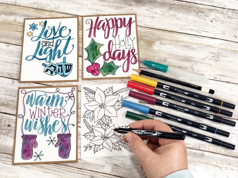 Four Hand-Drawn Holiday Cards to Print and Color with Creatively Beth and Tombow #creativelybeth #tombowdualbrushpens #holidaycards #freeprintable #handlettering