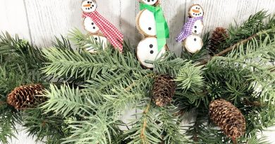 Tree Branch Snowman Ornaments a Kids Craft by Creatively Beth #creativelybeth #kidscraft #snowmanornament #treebranchslice #woodslice #christmas