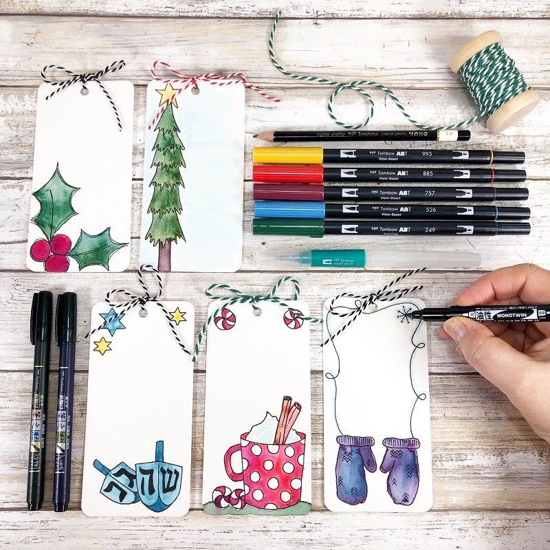 Twelve FREE Printable Holiday Tags to Watercolor with Tombow Creatively Beth #creativelybeth #freeprintable #holiday #tags #watercolor