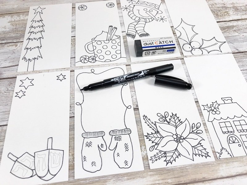 Ink in images on Tags with MONO Twin Permanent Marker Creatively Beth #creativelybeth #freeprintable #holiday #tags #watercolor