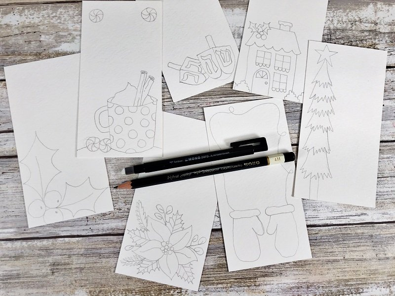 Hand draw images on tags with pencil Creatively Beth #creativelybeth #freeprintable #holiday #tags #watercolor