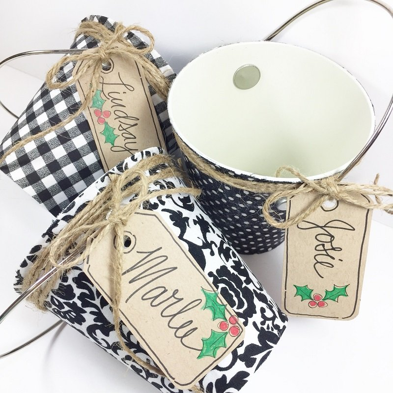 Upcycled Decoupaged Gift Buckets for Elegant Holiday Giving by Creatively Beth #creativelybeth #tombow #decoupaged #upcycled #giftgiving #giftwrapping
