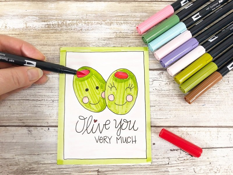 Olive You Very Much Free Printable Kawaii Inspired Valentine Cards Hand Drawn by Creatively Beth #creativelybeth #freeprintable #valentinesdaycards #kawaii #coloringpage
