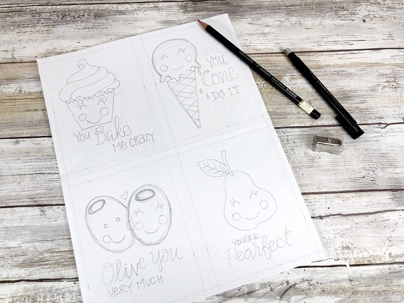 Hand Sketch with MONO J Drawing Pencil 4H Free Printable Kawaii Inspired Valentine Cards Hand Drawn by Creatively Beth #creativelybeth #freeprintable #valentinesdaycards #kawaii #coloringpage