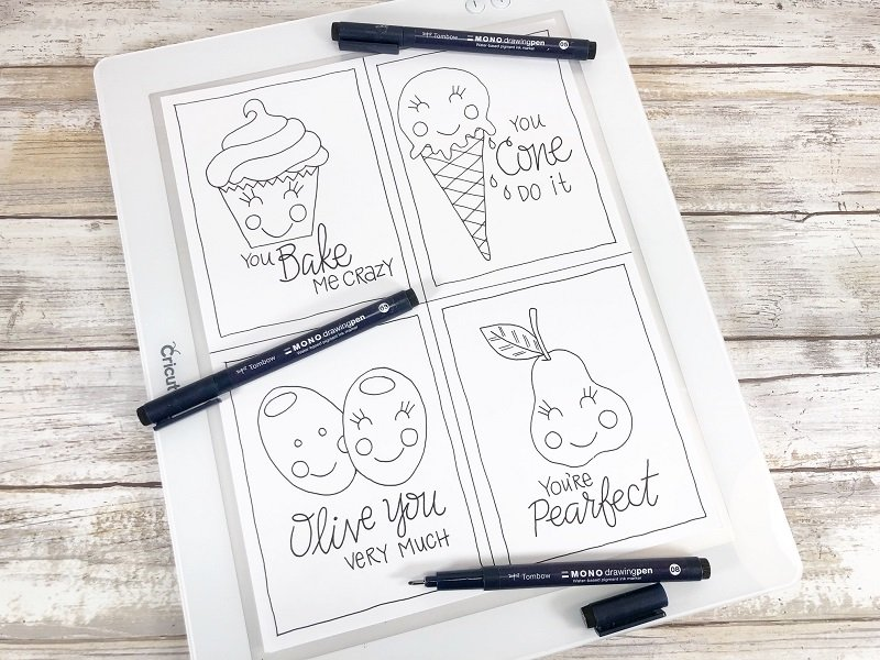 Ink in with MONO Drawing Pens Free Printable Kawaii Inspired Valentine Cards Hand Drawn by Creatively Beth #creativelybeth #freeprintable #valentinesdaycards #kawaii #coloringpage