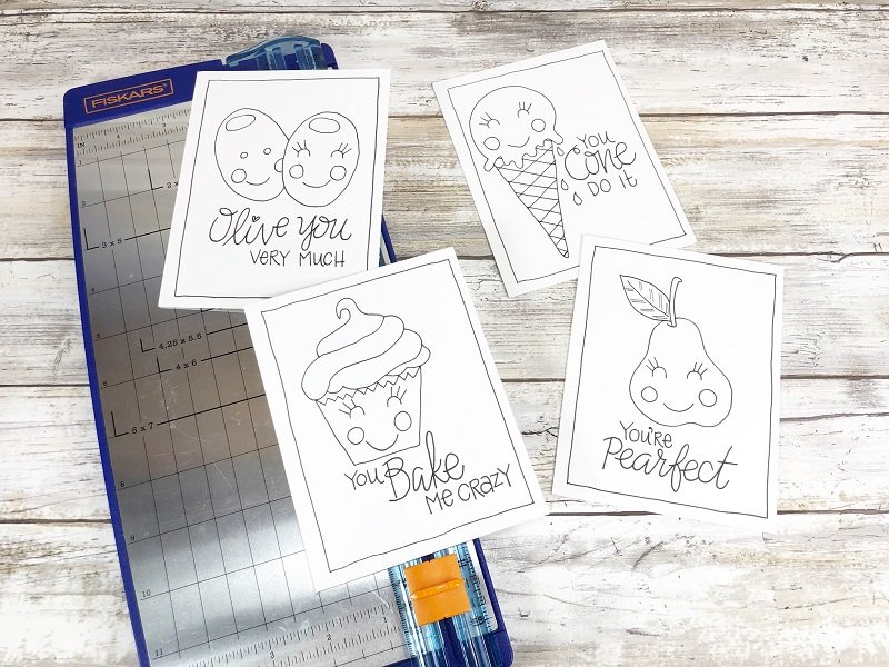 Print and cut apart with paper trimmer Free Printable Kawaii Inspired Valentine Cards Hand Drawn by Creatively Beth #creativelybeth #freeprintable #valentinesdaycards #kawaii #coloringpage