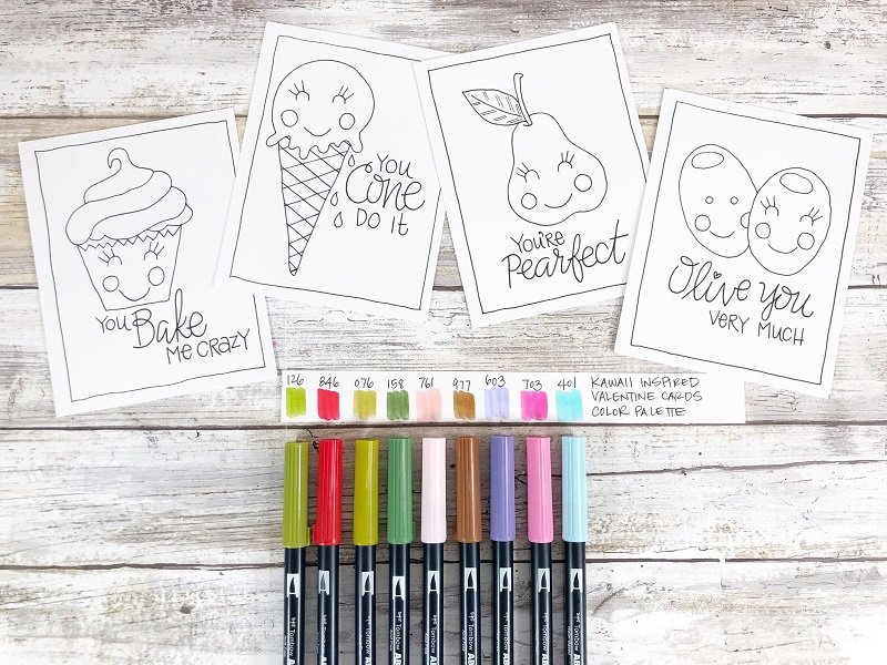 Color Palette is an important task Free Printable Kawaii Inspired Valentine Cards Hand Drawn by Creatively Beth #creativelybeth #freeprintable #valentinesdaycards #kawaii #coloringpage