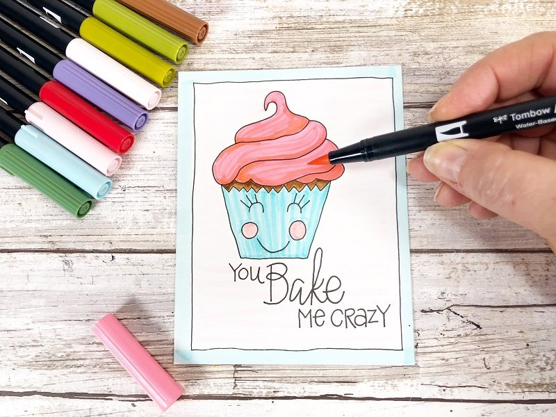 You Bake Me Crazy Free Printable Kawaii Inspired Valentine Cards Hand Drawn by Creatively Beth #creativelybeth #freeprintable #valentinesdaycards #kawaii #coloringpage