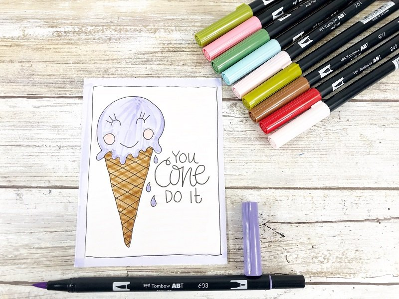 You Cone Do It Free Printable Kawaii Inspired Valentine Cards Hand Drawn by Creatively Beth #creativelybeth #freeprintable #valentinesdaycards #kawaii #coloringpage