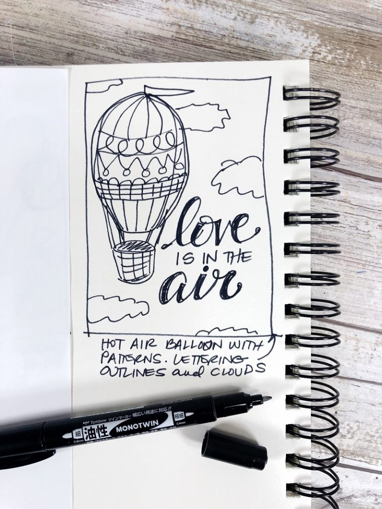 Original sketch of Love is in the Air Coloring Page by Creatively Beth #creativelybeth #valentinesday #freeprintable #coloringpage #handdrawn #handlettered