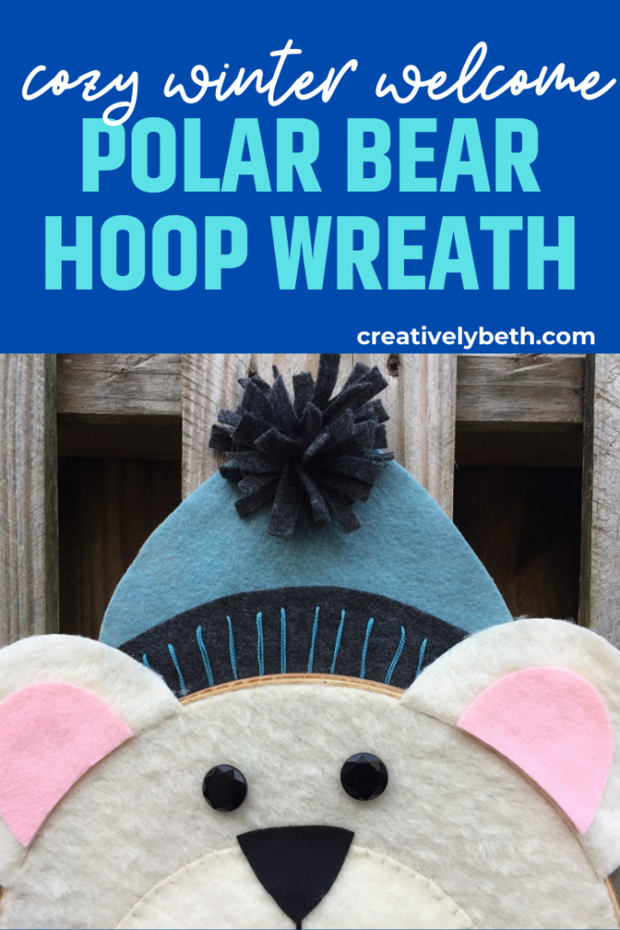 Polar Bear Hoop Wreath for a Cozy Winter Welcome by Creatively Beth #creativelybeth #feltcraft #embroideryhoopwreath #winterwreath