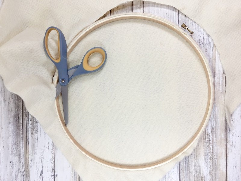 Add plush felt to embroidery hoop and trim Creatively Beth #creativelybeth #feltcraft #embroideryhoopwreath #winterwreath