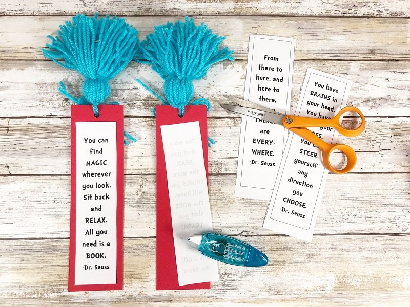 Cut out Dr. Seuss Quotes and attach to Bookmarks Creatively Beth #creativelybeth #drseuss #freeprintable #thing1andthing2 #bookmarks #catinthehat #readacrossamericaweek