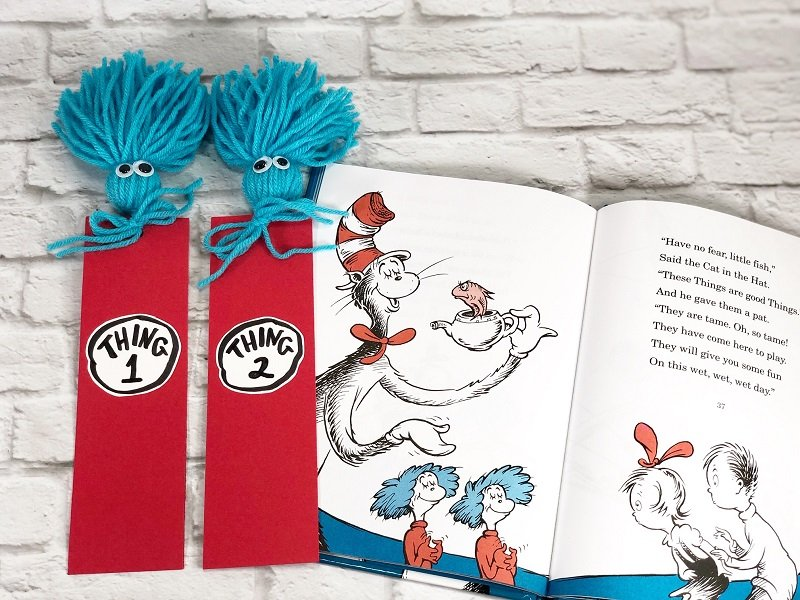 Dr. Seuss Quote Printable Bookmarks with a FREE Download Creatively Beth #creativelybeth #drseuss #freeprintable #thing1andthing2 #bookmarks #catinthehat #readacrossamericaweek