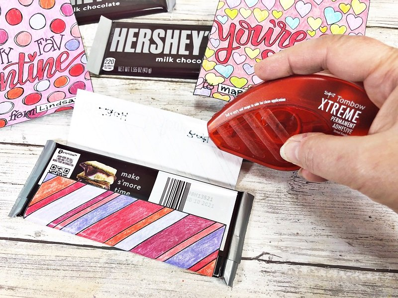 Attach with Xtreme Permanent Adhesive Print and color Free Candy Bar Wrappers for Valentine's Day Creatively Beth #creativelybeth #freeprintable #candybarwrappers #valentinesday