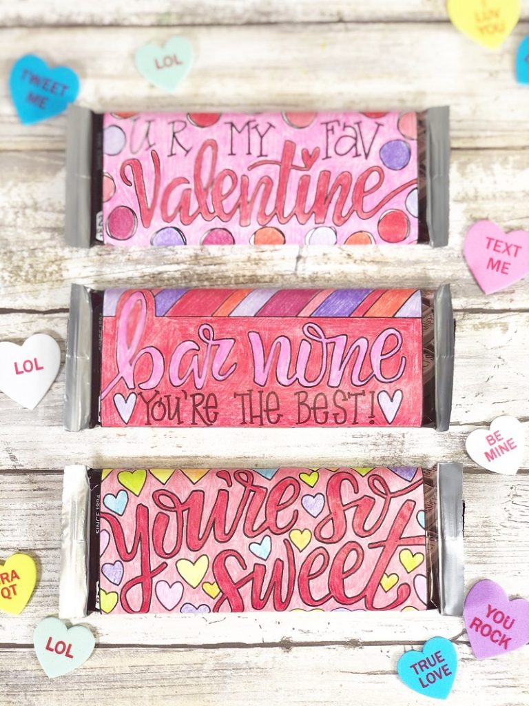 Free Printable Candy Bar Wrappers for Valentine's Day by Creatively Beth #creativelybeth #freeprintable #candybarwrappers #valentinesday