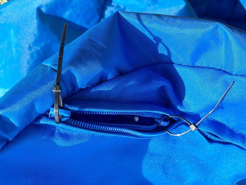 Missing zipper pulls on double zipper require zip ties to open by Creatively Beth #creativelybeth #madewithFFW #fairfieldworld #beanbagchair