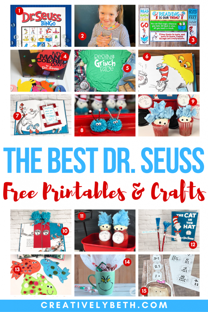 The best Dr. Seuss Crafts and Free Printables Creatively Beth #creativelybeth #drseuss #catinthehat #thing1andthing2 #crafts #thebestcrafts