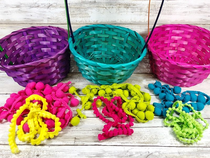 Colorful supplies needed for Boho Easter Baskets Creatively Beth #creativelybeth #easterbasket #dollartree #boho
