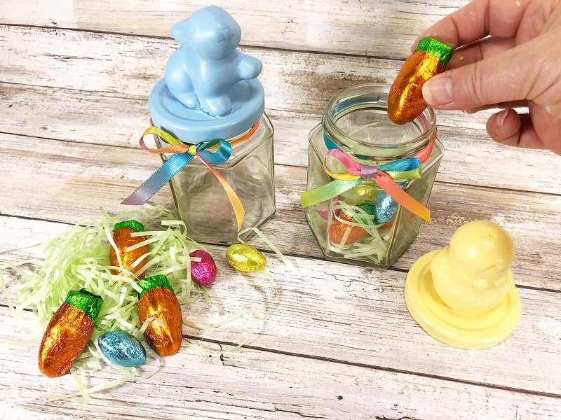 Fill Dollar Tree Jars with Candy Creatively Beth #creativelybeth #dollartreecrafts #eastercrafts #eastercandy