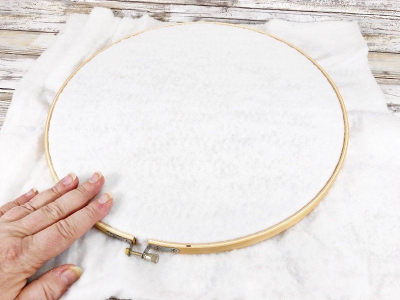 Secure outer band of embroidery hoop over top of batting Creatively Beth #creativelybeth #embroideryhoop #bunnycraft #fairfieldworld #polyfil #madewithFFW
