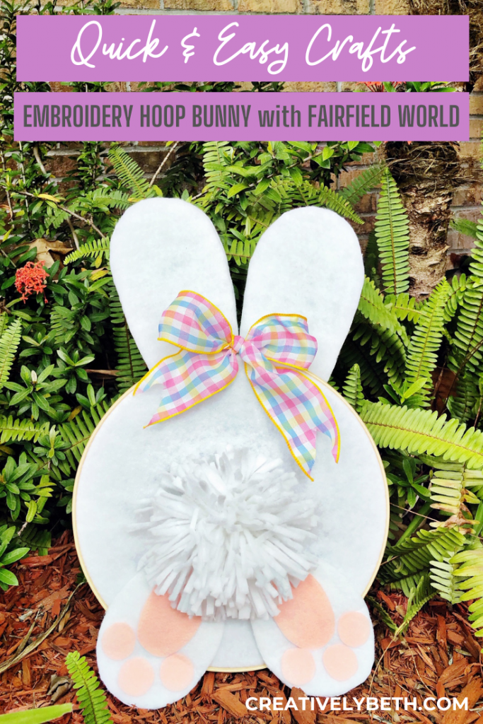 DIY Bunny Tail Embroidery Hoop for Spring by Creatively Beth #creativelybeth #embroideryhoop #bunnycraft #fairfieldworld #polyfil #madewithFFW
