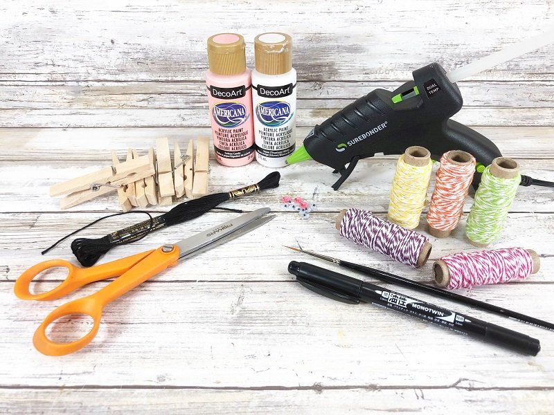 Materials needed to create Bunny Clothespins from Dollar Tree supplies Creatively Beth #creativelybeth #dollatreecrafts #eastercrafts #bunny #bunnies #clothespincrafts