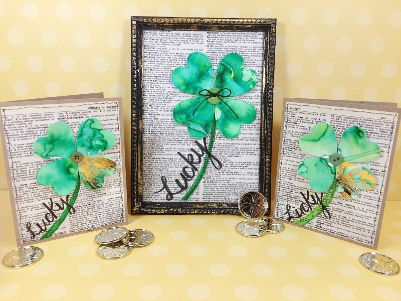 Easy Watercolor Shamrock Cards with Tombow Dual Brush Pens Creatively Beth #creativelybeth #tombowdualbrushpens #watercolor #shamrocks #stpatricksday