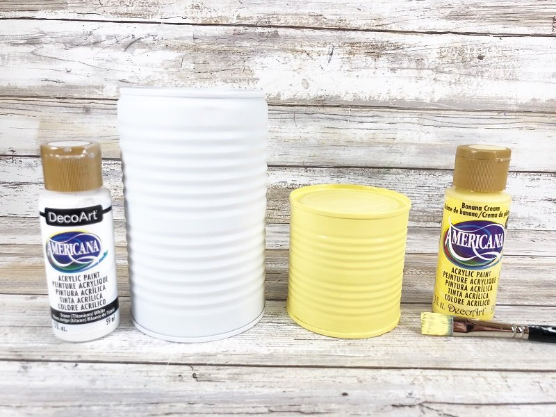 Topcoat small can with light yellow acrylic craft paint by Creatively Beth #creativelybeth #recycledcraft #upcycled #easterbunny #easterchick #eastercraft